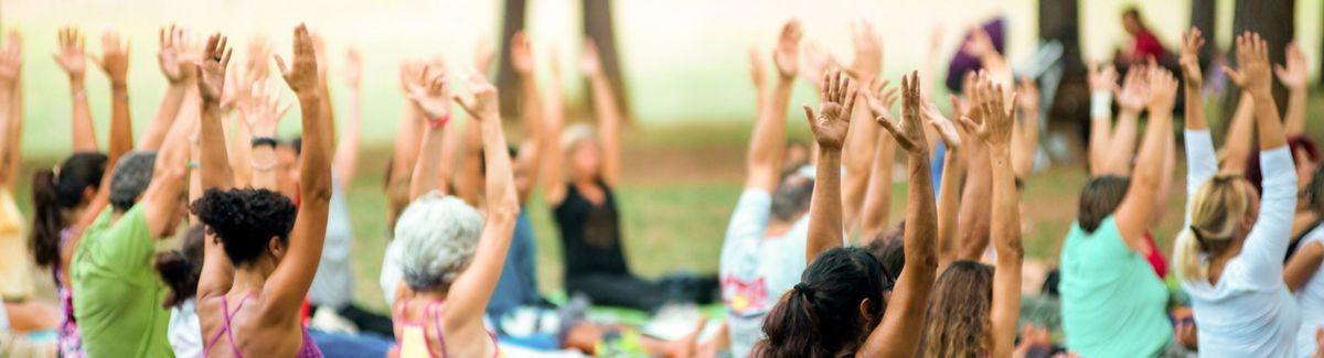 banner of hands up of people doing yoga © Alextype